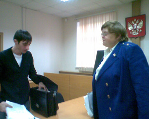 Photo: Public Prosecutor L.V.Galkina and Assat Aetov's lawyer Magamed Khadissov