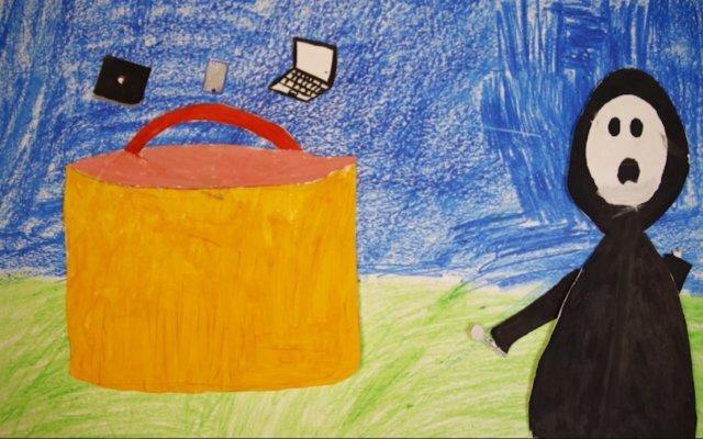 Дети мигрантов, которых отказываются брать в школы, нарисовали мультфильм — в нем Смерть дарит Ломоносову айфон